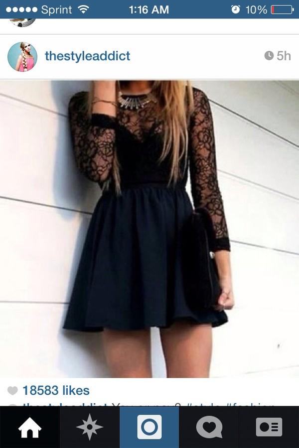 dress black adorable lace