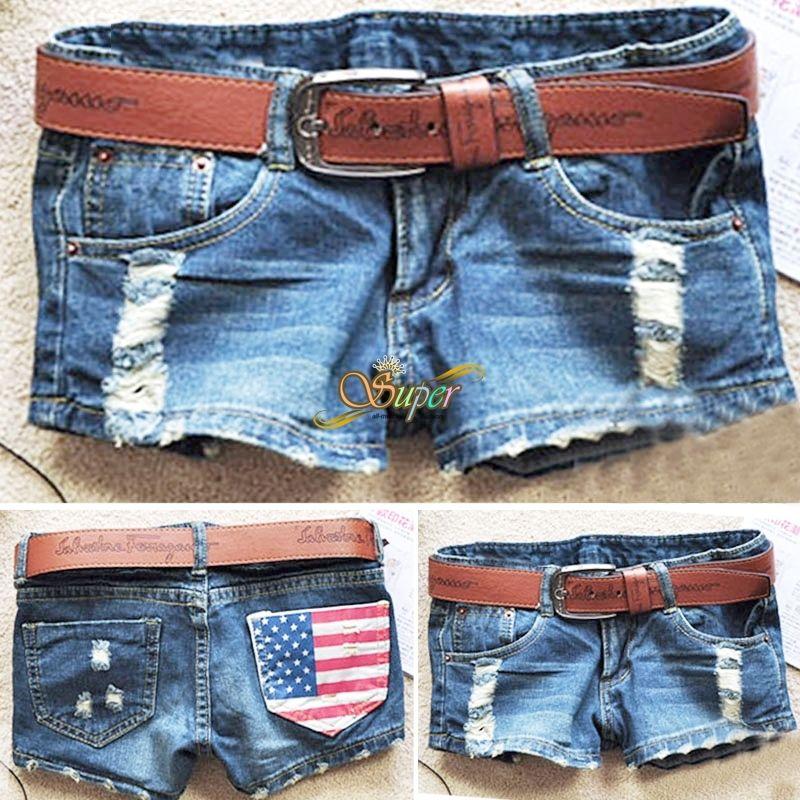 Stylish Womens Vintage Denim Low Waist Blue Jean Shorts Distress Hot Pants Pi | eBay