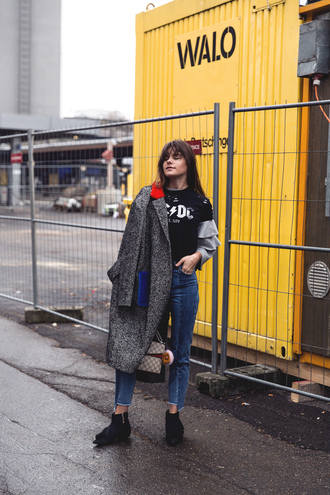the fashion fraction blogger coat sweater t-shirt bag shoes ankle boots grey coat ac/dc winter outfits logo tee