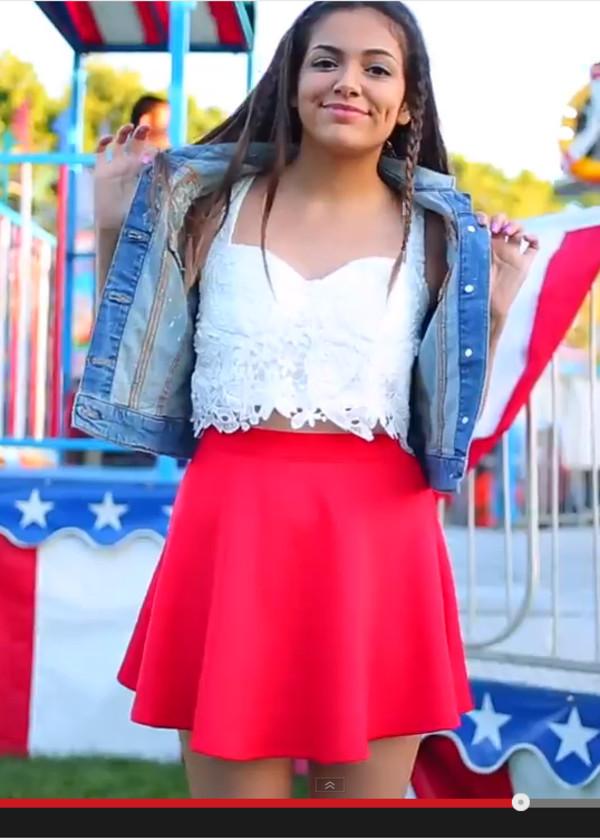 top skirt youtuber bethany mota crop tops crochet tank top