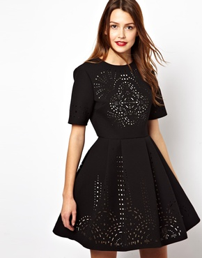 ASOS | ASOS Extreme Skater Dress With Laser Cut Outs at ASOS