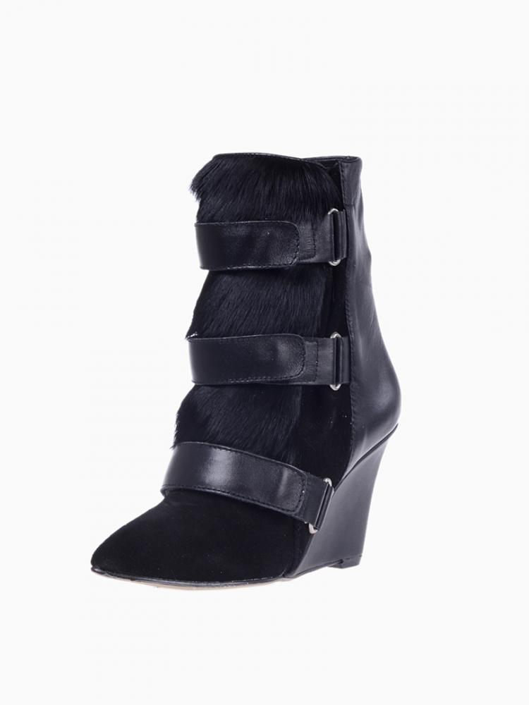 Black Suede&Leather&Calf Hair Wedge Boots   Choies