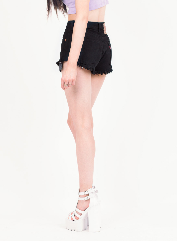 Women's Levi Vintage Frayed VShape Black Denim Shorts