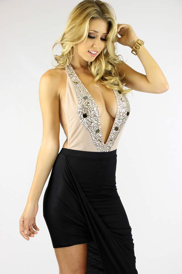 top ustrendy bodysuit bodysuit plunge v neck ustrendy sequins sequins deep plunge neckline