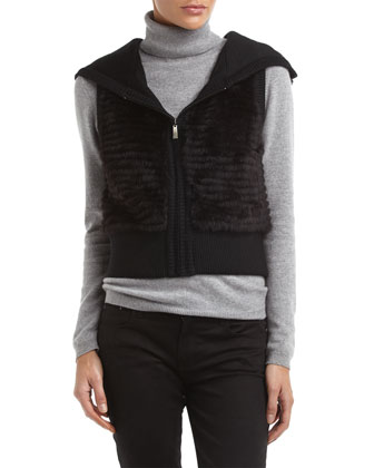 Love Token Long Rabbit Fur Vest, Natural - Neiman Marcus Last Call