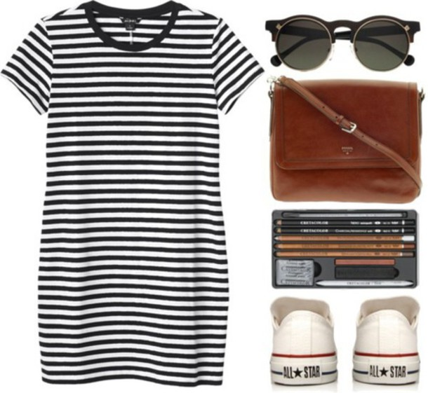 dress black and white dress stripes outfit polyvore