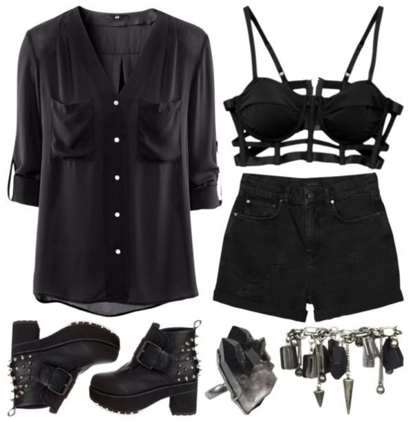 underwear grunge black goth shoes