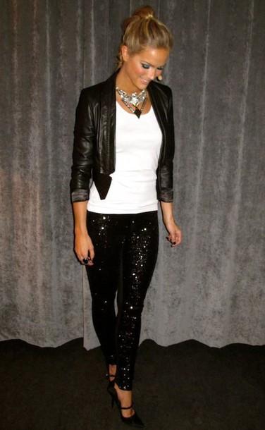 jacket blouse leggings leather black jeans outfit goals pants black pants sequin pants sparkle black