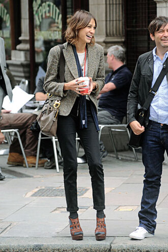 medium heels leather brown alexa chung brown shoes pants shoes