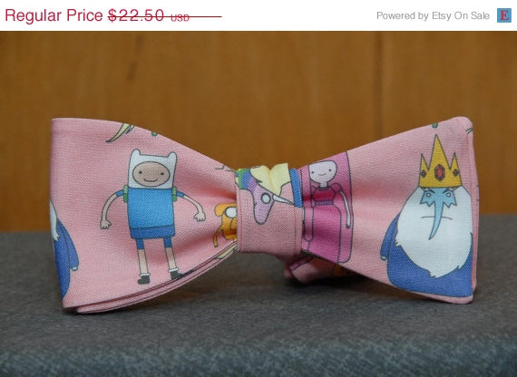 P&P Cyber Sale  Adventure Time on Pink Bow tie by PinchAndPull