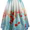 Poppy flower print midi skirt - retro, indie and unique fashion
