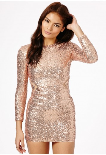 Abasi Sequin Mesh Panel Dress - Dresses - Missguided