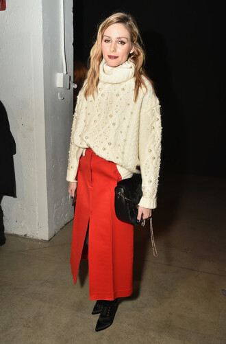 sweater olivia palermo skirt midi skirt red skirt blogger nyfw 2017 fashion week 2017 sweater weather embellished off-white sweater oversized turtleneck sweater