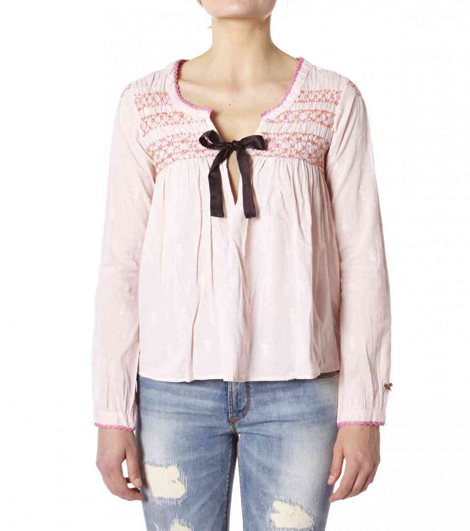 cotton embroided l/s blouse  - Odd Molly Boutique