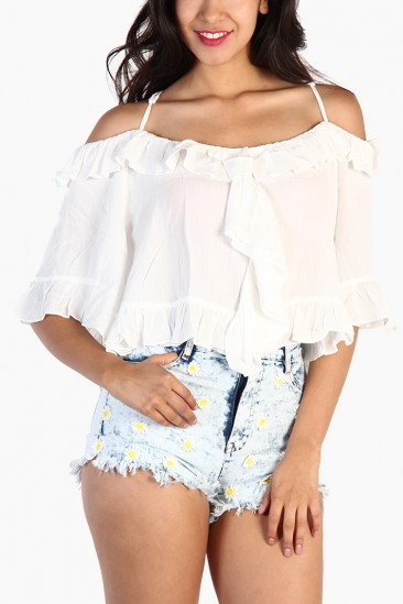 LoveMelrose.com From Harry & Molly | Ruffle Off Shoulder Crop Top - White