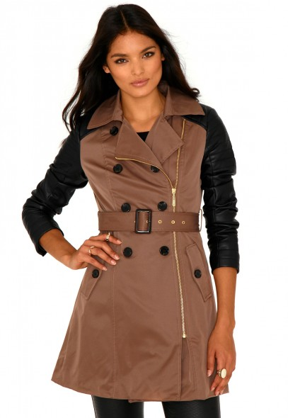 Lacey Trench Coat With Leather Sleeves - Coats and Jackets - Missguided