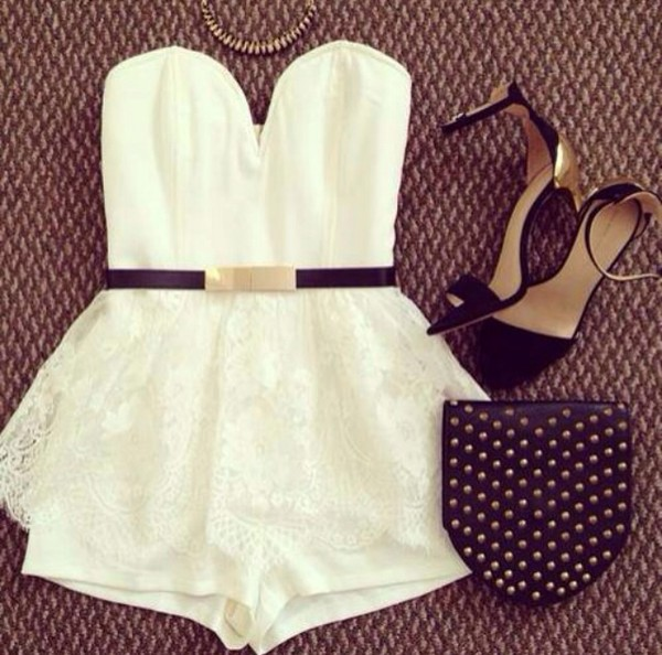 dress white belt romper pretty shorts the playsuit and the lace over the shorts an amazing outfit
