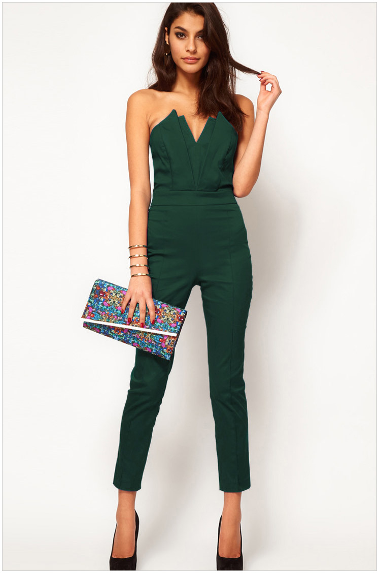 Fashion  Skinny Womem Jumpsuits  Solid   black  green  size M  L Hight Quality  2014 New Free shipping-in Jumpsuits & Rompers from Apparel & Accessories on Aliexpress.com