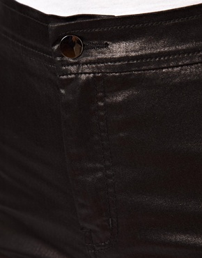 ASOS | ASOS Uber High Waist Denim Jeggings in Coated Glossy Black at ASOS