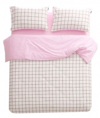 home accessory windowpane bedding bedding pink and white grid patterned