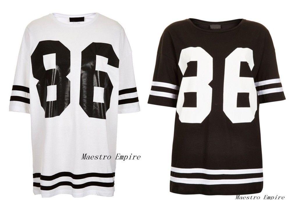 Womens Oversized 86 American Baseball Tee T Shirt Top Stripe Varsity Dress | eBay