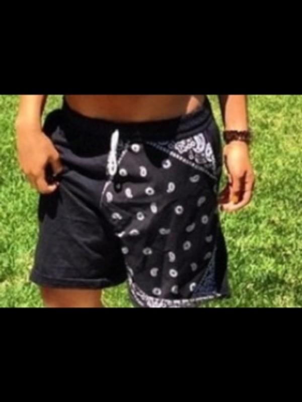shorts bandana black white