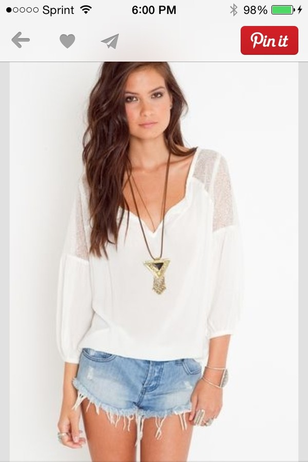 blouse white shirt boho clothes indie hippie indian nice jewels brunette