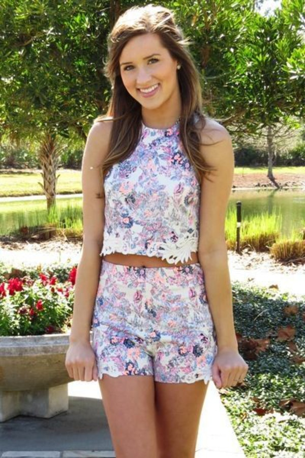 top romper two-piece lovely printed top applique rose gold crop tops shorts classy classy and fabulous floral pink purple