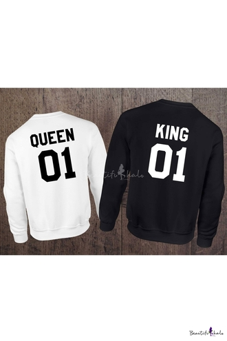 sweater king queen pullover black and white fashion style trendy black white cool beautifulhalo king and queen