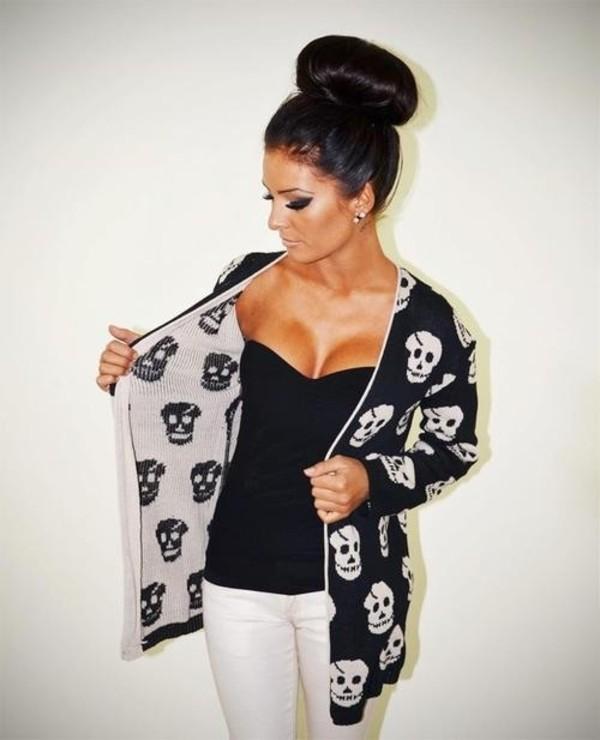 sweater skull cardigan black and white shirt