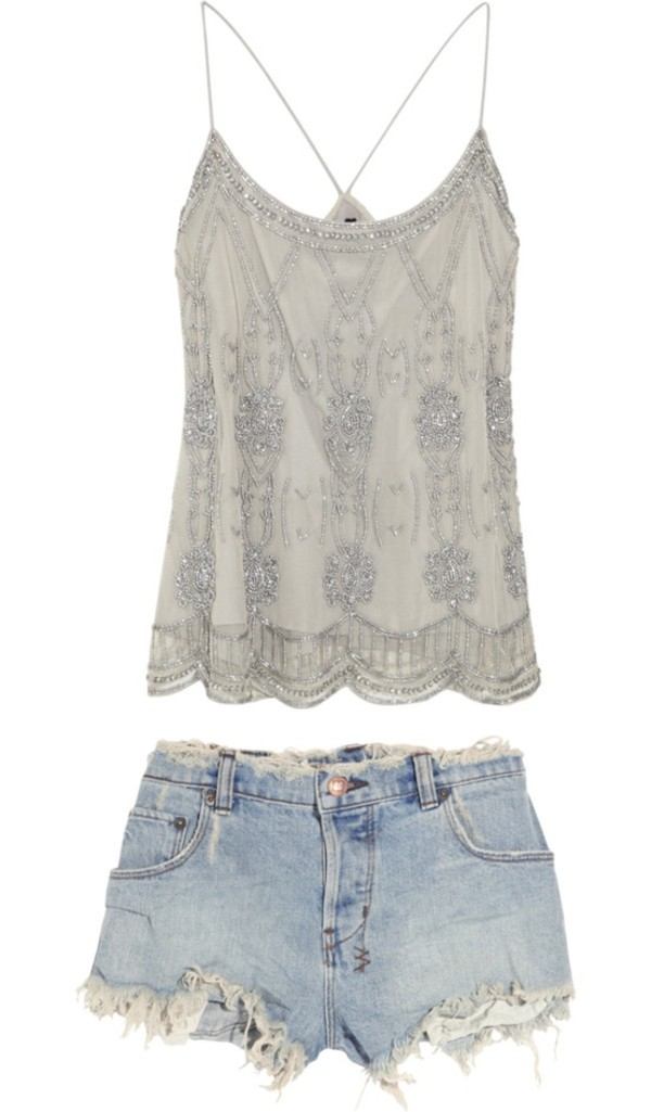 shirt tank top beading shorts concert blue ripped shorts denim shorts cut off shorts sequence sequin top top embellished top spaghetti strap top summer spring beaded cute shirt style blouse grey grey grey t-shirt fashion embellished flapper style spaghetti strap sequins grey top