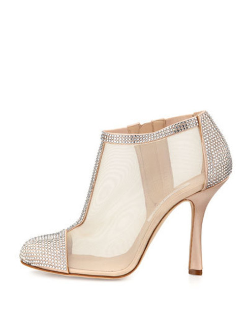 Shoes: prom bootie sparkle nude bootie nude shoes nude heels