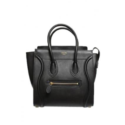 Celine Black Smooth Leather Micro Bag   Portero Luxury