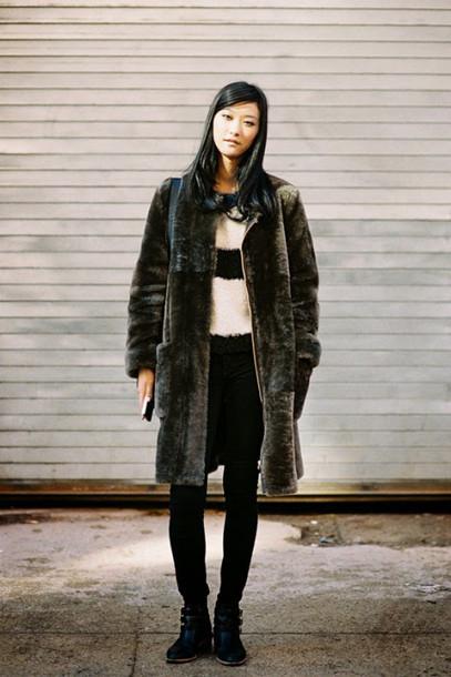 vanessa jackman blogger striped sweater faux fur winter coat coat sweater shoes long fur coat