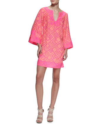Alice & Trixie Charlotte Long Sleeve Dress, Papaya/Pink