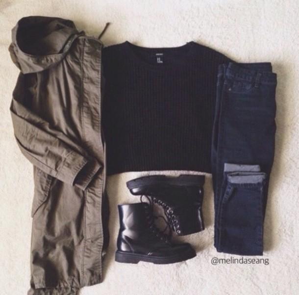 jacket t-shirt jeans shoes