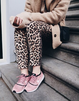 pants tumblr leopard print animal print printed pants sneakers pink sneakers nike nike shoes nike running shoes coat camel camel coat bag black bag nude pastel sneakers