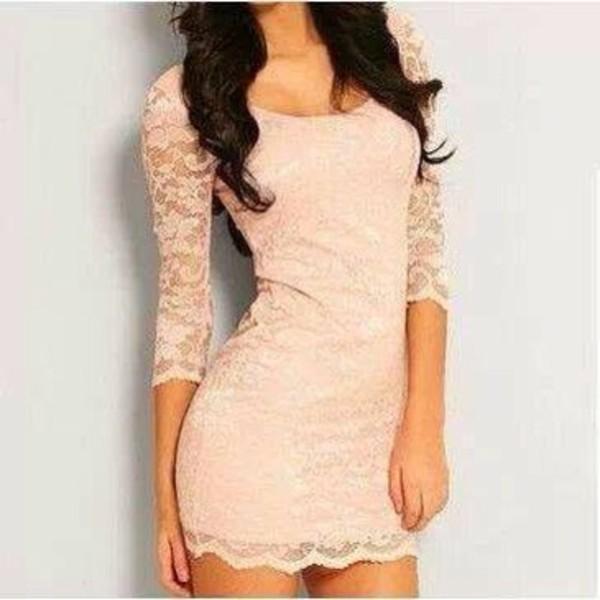 dress lace light pink lacey dress bodycon dress