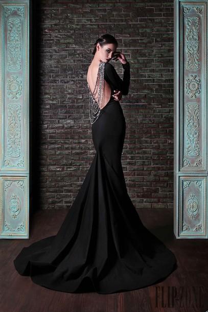 dress black gown black dress prom dress prom dress evening dress chain