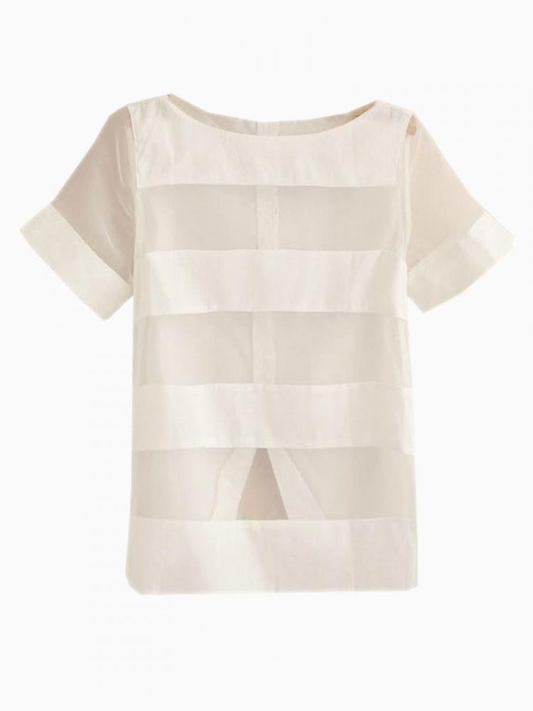 White Blouse With Mesh Panel | Choies
