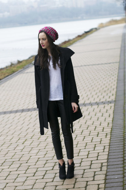 the glam files blogger knitted beanie black coat
