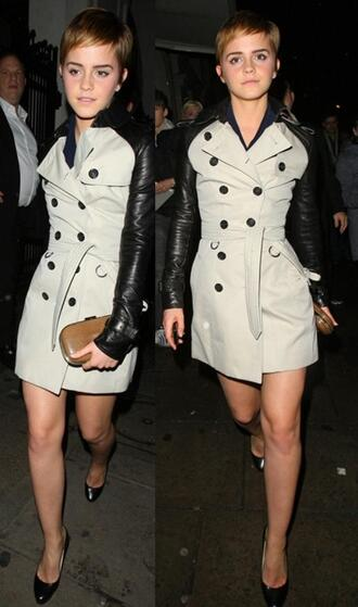 trench coat mac cosmetics leather black jacket coat burberry emma watson jacket