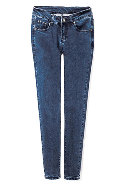 ROMWE   Zippered Slim Elastic Blue Pants, The Latest Street Fashion