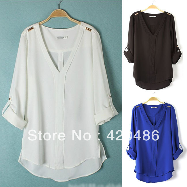 New Fashion Lady V Neck Rivets Studs Trim Foldable Sleeve Pullover Chiffon Shirt Top Free Shipping-in Blouses & Shirts from Apparel & Accessories on Aliexpress.com