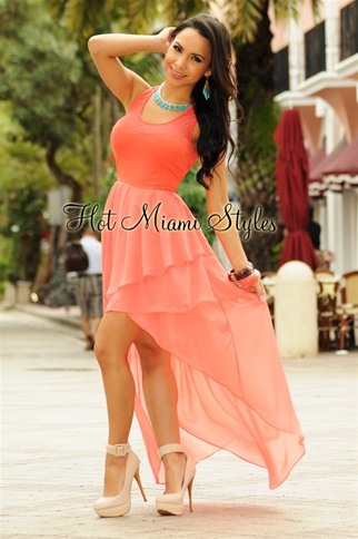 Coral Racer-Back Layered High-Low Dress