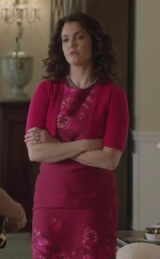 dress scandal red wool silk mellie grant bellamy young flowers butterflies cardigan cashmere