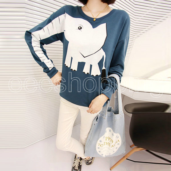 Q623 Korean Ladies Womens Fashion O Neck Pullover Loose Knitwear Long Sleeve Pullover Jumper Cartoon Elephant Hooded Casual Tops-in Hoodies & Sweatshirts from Apparel & Accessories on Aliexpress.com