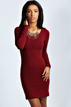 Camille Long Sleeve Jersey Bodycon Dress at boohoo.com