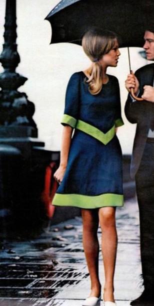 dress navy dress knee length dress three-quarter sleeves paris