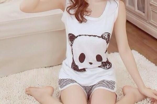 pajamas stripes pandas black white shorts tank top top tank top shirt panda cute stiles t-shirt cute shirt cute stuff